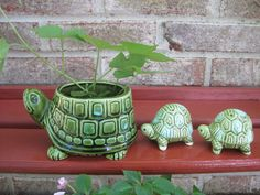 Vintage Turtle Planter and Salt and Pepper Shakers