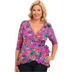 """KIYONNA - """"Pretty in Print"""" Wrap Top Women's Purple Blouse Size 1X #Kiyonna…"""