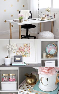 Gold Pink Home Office | Flickr - Photo Sharing!