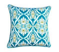 Outdoor resort cushion , accent cushion cover , Ikat design in fresh blues and green colours , Throw pillow , tropical cushion design . Outdoor Cushions, Outdoor Fabric, Indoor Outdoor, Old Time Pottery, Colourful Cushions, Handmade Cushions, Cushion Pillow, Jaipur, Peacock