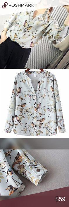 SALEsilky little bird blouse  NEW INsilky little bird blouse  an elegant and unique peice  Measurement for Medium: Shoulder 46cm; Sleeves 50cm; Bust 98cm; Length 62cm Tops Blouses