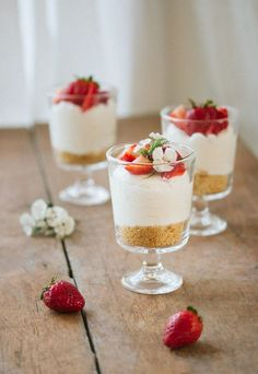 Individual No-Bake Cheesecake Creamy and mousse-like this mini no-bake cheesecake is served in individual dishes making it a fancy yet simple dessert. The post Individual No-Bake Cheesecake appeared first on Win Dessert. Desserts In A Glass, Köstliche Desserts, Delicious Desserts, Dessert Recipes, Yummy Food, Healthy Desserts, Microwave Desserts, Light Desserts, French Desserts