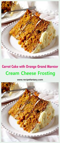 Carrot Cake with Orange Grand Marnier Cream Cheese Frosting No Bake Desserts, Delicious Desserts, Easter Desserts, Yummy Food, Baking Desserts, Cream Cheese Recipes, Cream Cheese Frosting, Liquor Cake, Orange Buttercream