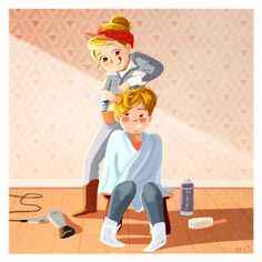 Need a hairdresser…who better than your sister to do the job…. Winter Illustration, People Illustration, Children's Book Illustration, Digital Illustration, Book Illustrations, Writing Inspiration, Character Inspiration, 3d Character, Character Design