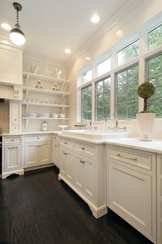 White cabinets with dark wood flooring, gorgeous! But I am totally loving the wall of windows!