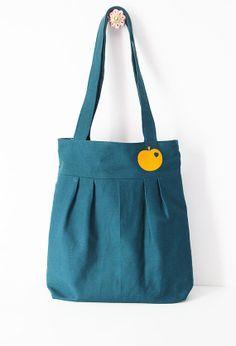 Pleated tote bag: petrol and orange apple