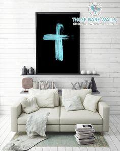 Cross Printable Wall Art - Teal Cross | Religious Art Print | Holy Cross | Religious Print | Religious Decor | Cross Decor | Home Decor | Teal Gold on Black | Boys Nursery Decor | Boys Nursery Decor