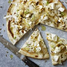 Flatbreads with fennel and feta. For the full recipe and more dinner party ideas, visit Red Online