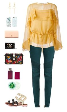 """""""See By Chloé Yellow Gathered Blouse"""" by sol4nge ❤ liked on Polyvore featuring Balmain, Christian Louboutin, See by Chloé, Yves Saint Laurent, Dolce&Gabbana, Vivienne Westwood, Chanel, Casetify, Skinnydip and Fuji"""