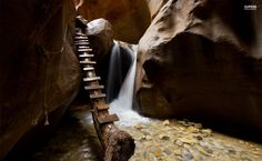 Improvised stairs in the cave HD Wallpaper
