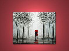 Walking in the Rain Paintings   walking in the rain - 24x18 inch, original modern painting, on ...
