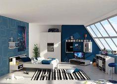 jugendzimmer in blau weiss gestalten teenager zimmer jungs bett kinderzimmer kinderzimmer gestalten