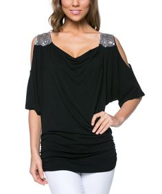 $14.99 I Love The Cutout Tops, Especially With Some Sparkle :) Magic Fit Black Embellished Cutout Drape Top