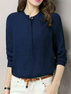 9ea7f8ae Chiffon Blouses, Shirt Blouses, T Shirt, Office Outfits, Casual Outfits,  Fashion