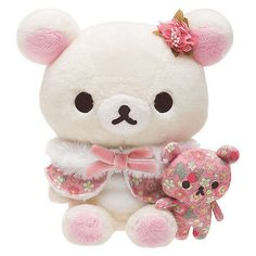 New San-X Rilakkuma Korilakkuma Strawberry Flower Plush Stuffed Doll Cute JAPAN