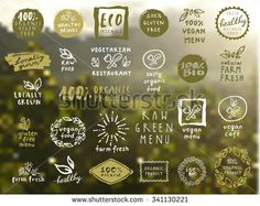 Organic food labels vector set. Fresh healthy food icons. Vintage badges for…
