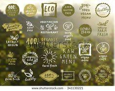 Organic food labels vector set. Fresh healthy food icons. Vintage badges for restaurant menu or food package design on blurred rural background - stock vector