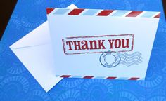 Postcard Thank You Greeting Card Postal Postmark Red White and Blue Stamped Air Mail Gratitude Appreciation Thanks by CuttingItUp