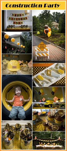 construction party, Gavin had this theme for his Birthday . but this has cute ideas for older kids, maybe we'll do this theme again! Construction Birthday Parties, Construction Party, 3rd Birthday Parties, Birthday Fun, Birthday Ideas, Construction Cookies, Birthday Banners, 1st Birthdays, Birthday Invitations