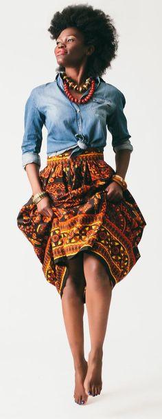 Afro print, skirt, full