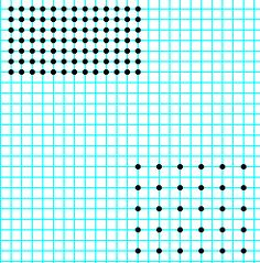 Graph paper with holes marked    close (upper corner)   or loose (lower corner)