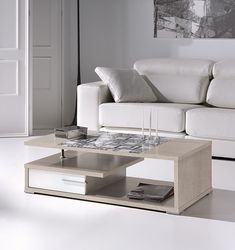 Mesa De Centro Elevable Con Detalle En Cristal REF: 0307   Muebles En Toledo