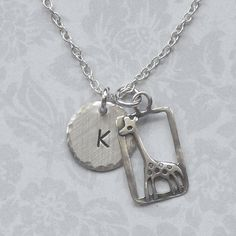 Personalized Giraffe Hand Stamped Sterling Silver Initial Charm Necklace $26by #DolphinMoonCreations.com #giraffenecklace