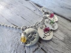 Hand Stamped Monogram Necklace With Birthstones - $18.99. https://www.bellechic.com/products/d7b131c4d4/hand-stamped-monogram-necklace-with-birthstones