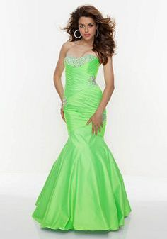 Mermaid Sleeveless Sweetheart Floor Length Taffeta Prom Dress