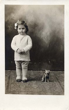 vintage photo of girl with toy kitty