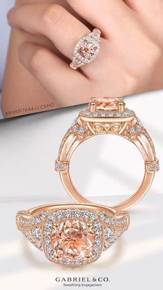 This split shank style crafted from 14k rose gold features Victorian inspired details like elegant milgrain borders and delicate filigree beneath the crown. ER99317K44JJ.CSMO#GabrielNY #UniqueJewelry #EngagementRings #HaloEngagementRings #RoundEngagementRings #RoseGoldEngagementRings #MorganiteEngagementRing #VintageEngagementRings Three Stone Engagement Rings, Perfect Engagement Ring, Rose Gold Engagement Ring, Vintage Engagement Rings, Gabriel Jewelry, Morganite Engagement, Rose Gold Jewelry, Halo Diamond, Split Shank