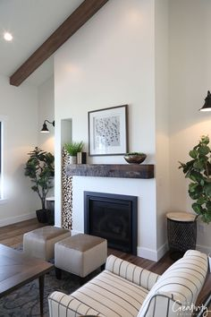 Kitchen Living Rooms Remodeling Modern farmhouse living room fireplace - I just returned from a week in Salt Lake and I'm so excited to share a recap of the 2018 Salt Lake City Parade of Homes. Some of you may remember that I went out Winter Living Room, Living Room With Fireplace, Cozy Living, Living Area, Living Spaces, Living Room Furniture, Living Room Decor, Wooden Furniture, French Furniture