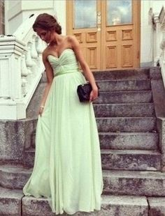 Sweetheart Corset Long/Floor Length Chiffon Bridesmaid Dress, Blush Bridesmaid Dress, Green Bridesmaid Dress