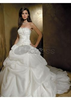 bright fashionable luxury strapless wedding dresses