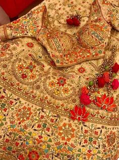 Beige heavy gota patti wedding lehenga with red latkans. Indian Bridal Outfits, Indian Bridal Lehenga, Red Lehenga, Indian Bridal Wear, Indian Designer Outfits, Lehenga Choli, Indian Dresses, Sarees, Indian Wear