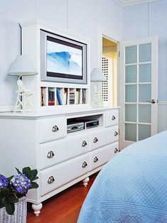if you want a tv in the bedroom I like this built in option over the dresser. could DIY and just take out top middle drawer of a standard dresser and upgrade it with new paint and hardware. Tv In Bedroom, Bedroom Decor, Bedroom Ideas, Dream Bedroom, Master Bedroom, Dresser With Tv, D House, My Living Room, Home Projects