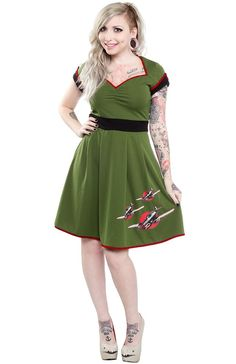 In a size XL - SOURPUSS KEEP EM' FLYING DRESS - Sourpuss Clothing