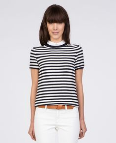 Striped collar tee TRUDY - Colour OFF WHITE/SAILOR BLUE