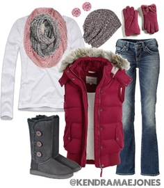 """""""Pink, Grey and Maroon Winter Casual"""" by kendramaejones on Polyvore"""