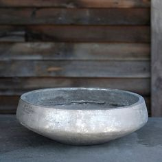 Brushed Silver Bowl Planter in Gardening PLANTERS Outdoor Planters All-Weather at Terrain