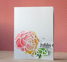 handmade birthday card ... water colored area topped with die cut  rose outline ...
