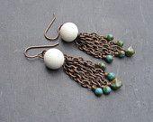 White Vintage Button and Glass Fringe Earrings by For My Sweet Daughter