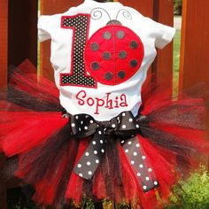 3 piece Lady Bug shirt lady bug birthday by TutuHairbowBoutique, $59.50