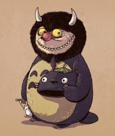 """Totoro es un personaje de """"Donde viven los monstruos"""" -""""Icons Unmasked"""", es una divertida serie de ilustraciones creadas por Alex Solís, en la desenmascara a algunos iconos de ficción que juegan otros roles en la cultura pop."""