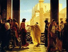 "Ecce Homo (""Behold the Man""), Antonio Ciseri's depiction of Pilate presenting a scourged Jesus to the people of Jerusalem."