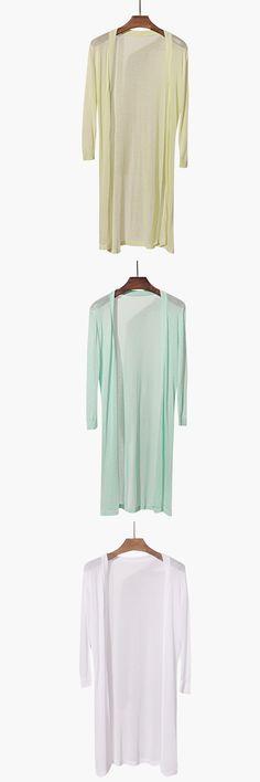 Rqueena Casual Style Ladies Summer Cardigans Fashion Three Quarter Sleeve Thin Loose Long Knitting Patterns Womens Pink Cardigan