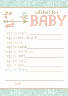 Wishes For Baby Keepsake Baby Shower Game by BlueFenceDesigns - TJ Mofield - Baby Shower Mum, Baby Shower Gifts To Make, Baby Shower Photo Booth, Baby Shower Yellow, Baby Shower Photos, Baby Shower Cookies, Gender Neutral Baby Shower, Baby Shower Games, Wishes For Baby