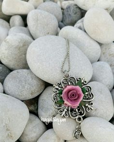 Polymerclay jewelery,gift ,rose,polymerclay flower,polymerclay necklace,