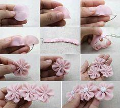 Confira 5 tutoriais com fotos para fazer flores de fuxico! É fácil e o resultado é lindo! :)