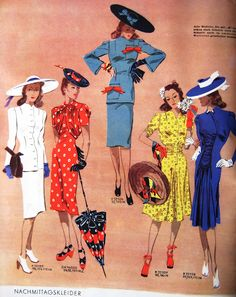 Sew Something Vintage: Fashion Sew Something Vintage: Mode der Jahre Fashion Moda, 1940s Fashion, Look Fashion, Korean Fashion, Vintage Fashion, High Fashion, Fashion Women, Club Fashion, Fashion Hats